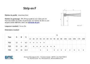 Dimensions standard des brosses strip en F